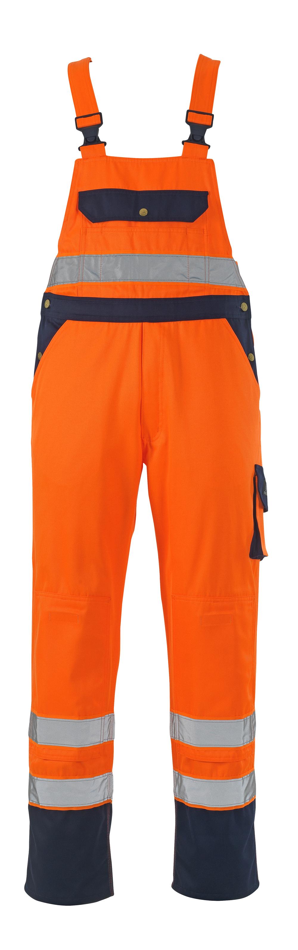 00969-860-141 Overall med knælommer - hi-vis orange/marine