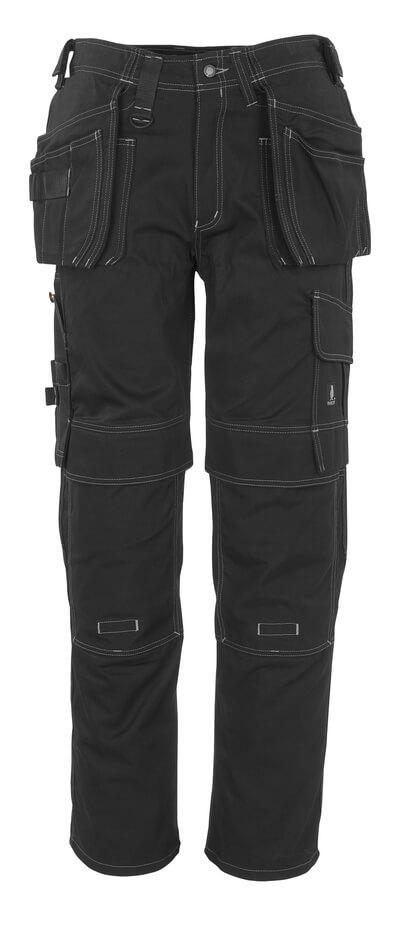 06131-630-09 Bukser med knæ- og hængelommer - sort