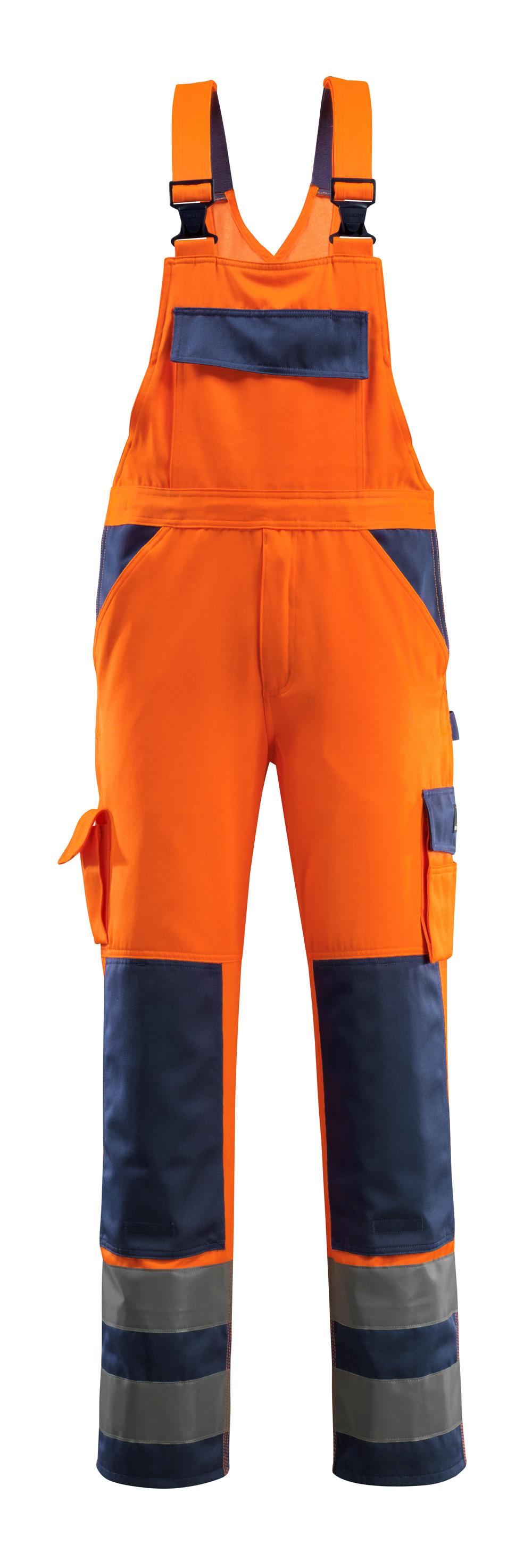 07169-860-141 Overall med knælommer - hi-vis orange/marine