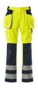 09131-470-171 Bukser med knæ- og hængelommer - hi-vis gul/marine
