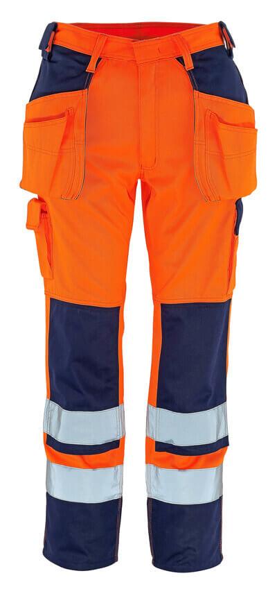 09131-860-141 Bukser med knæ- og hængelommer - hi-vis orange/marine