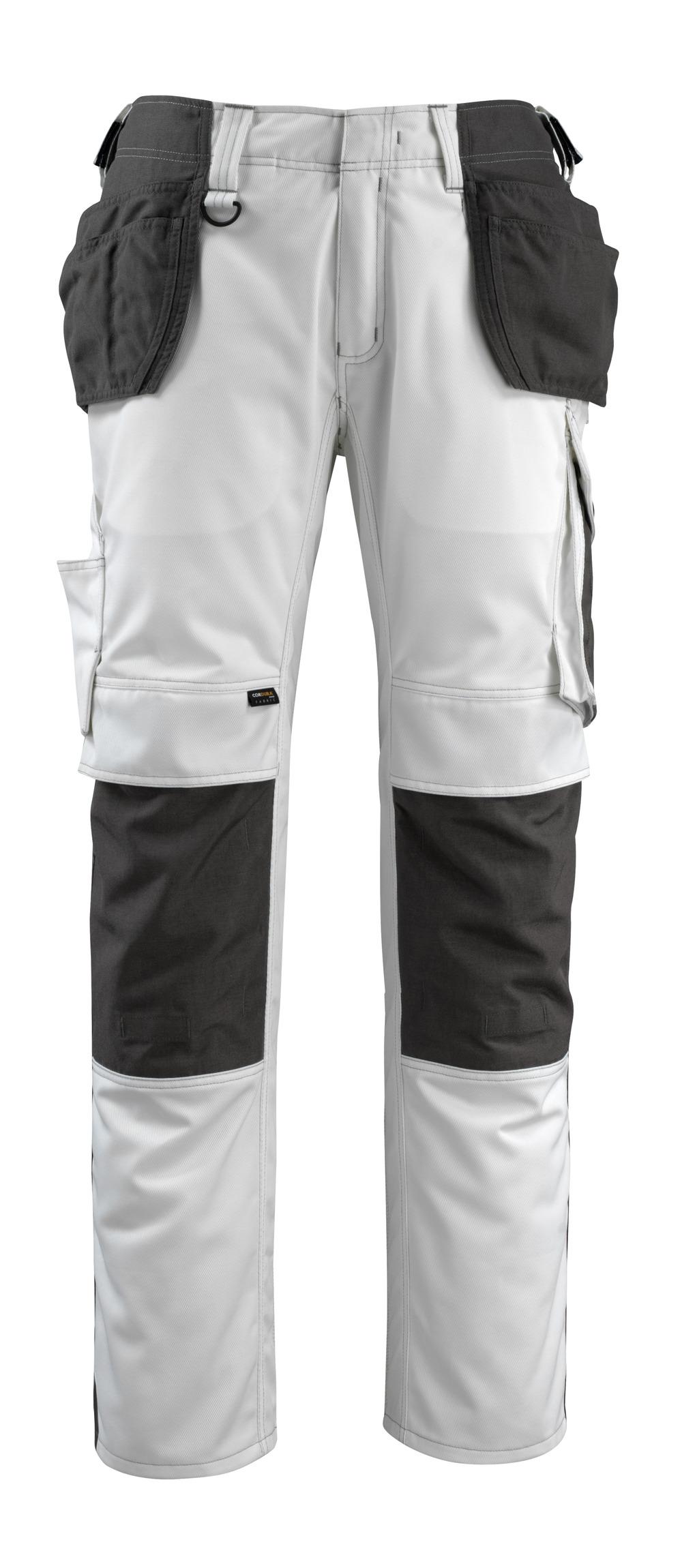 14031-203-0618 Bukser med knæ- og hængelommer - hvid/mørk antracit