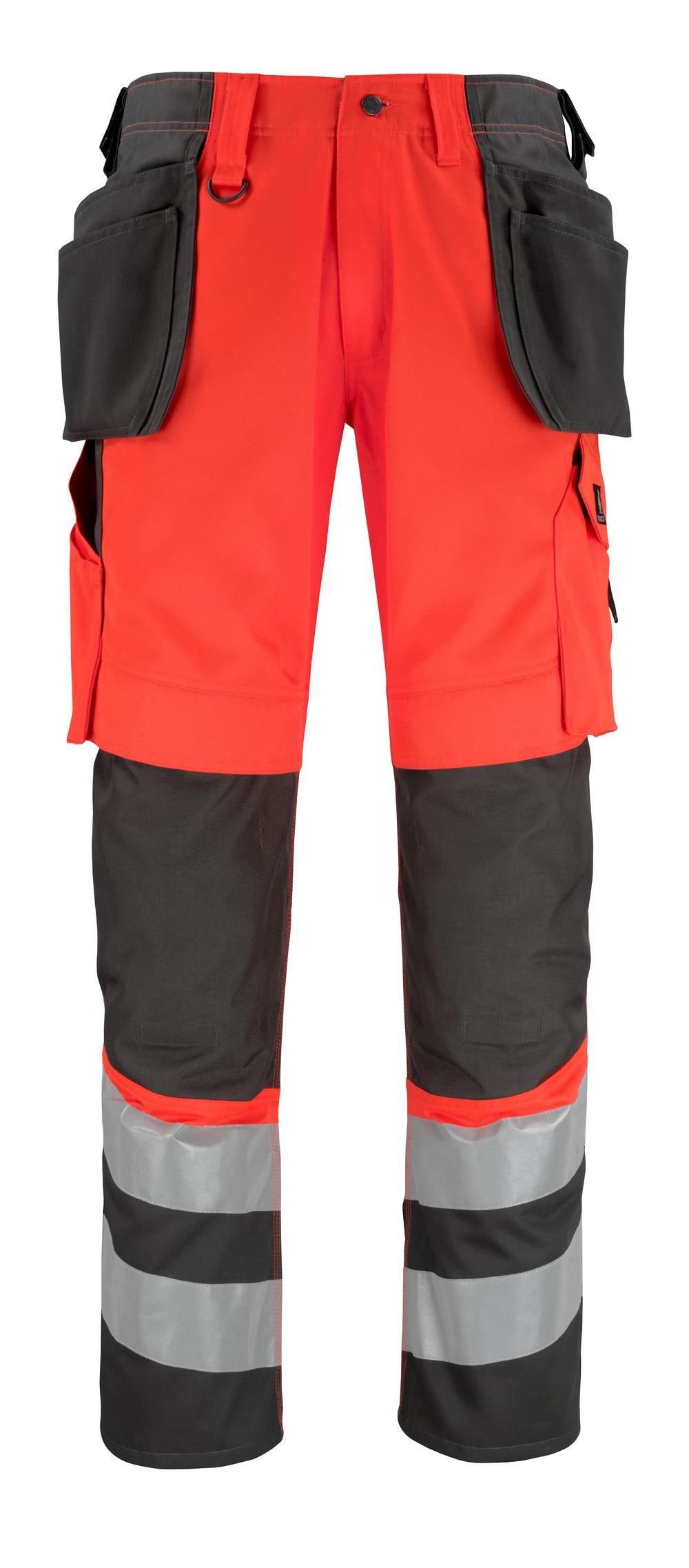 14931-860-A49 Bukser med knæ- og hængelommer - hi-vis rød/mørk antracit