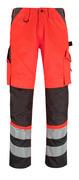 14979-860-A49 Bukser med knælommer - hi-vis rød/mørk antracit