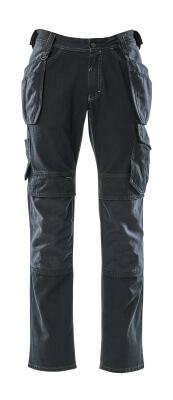 15131-207-86 Jeans med knæ- og hængelommer - mørkeblå denim