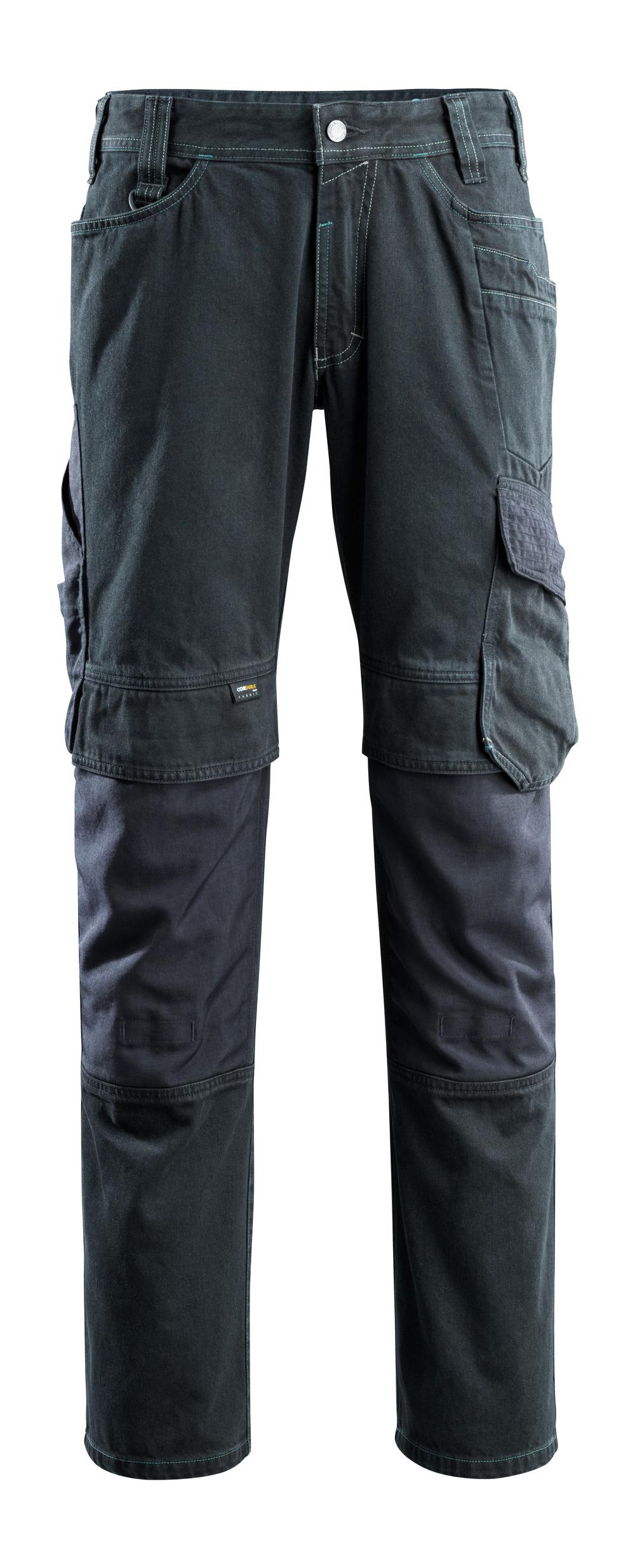 15179-207-86 Jeans med knælommer - mørkeblå denim