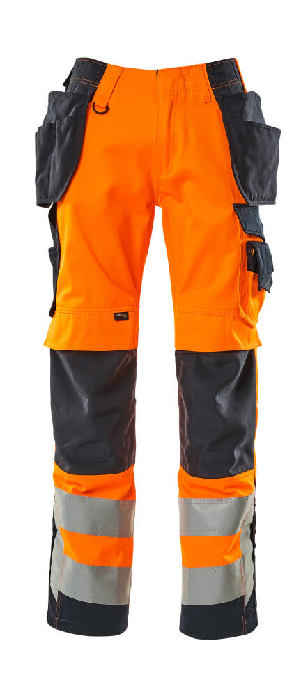15531-860-14010 Bukser med hængelommer - hi-vis orange/mørk marine