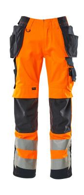 15531-860-14010 Bukser med knæ- og hængelommer - hi-vis orange/mørk marine