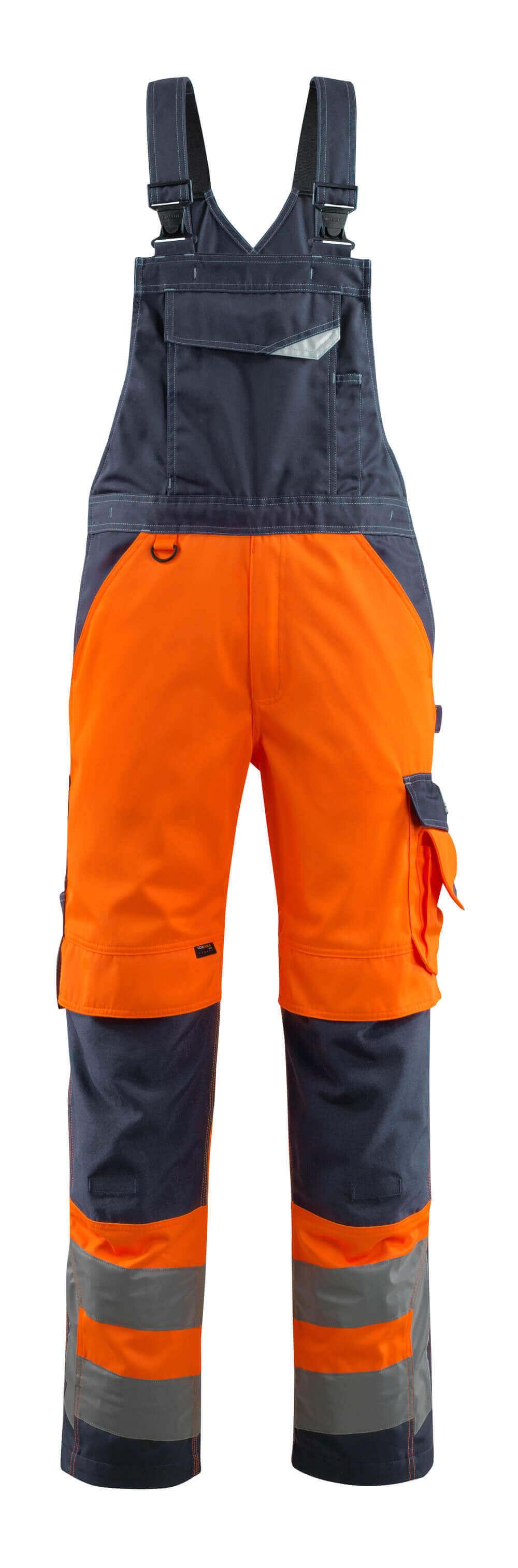 15569-860-14010 Overall med knælommer - hi-vis orange/mørk marine