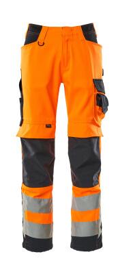 15579-860-14010 Bukser med knælommer - hi-vis orange/mørk marine
