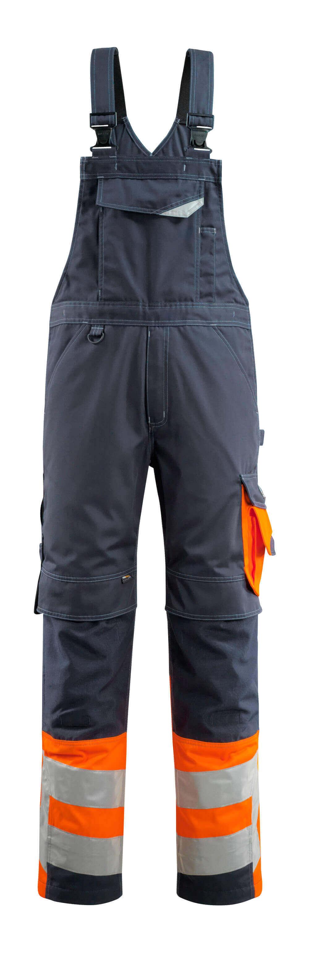 15669-860-01014 Overall med knælommer - mørk marine/hi-vis orange