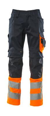 b3ae2fd8 MASCOT® SAFE SUPREME. 15679-860-01014 Bukser med knælommer - mørk  marine/hi-vis orange