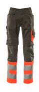 15679-860-01014 Bukser med knælommer - mørk marine/hi-vis orange
