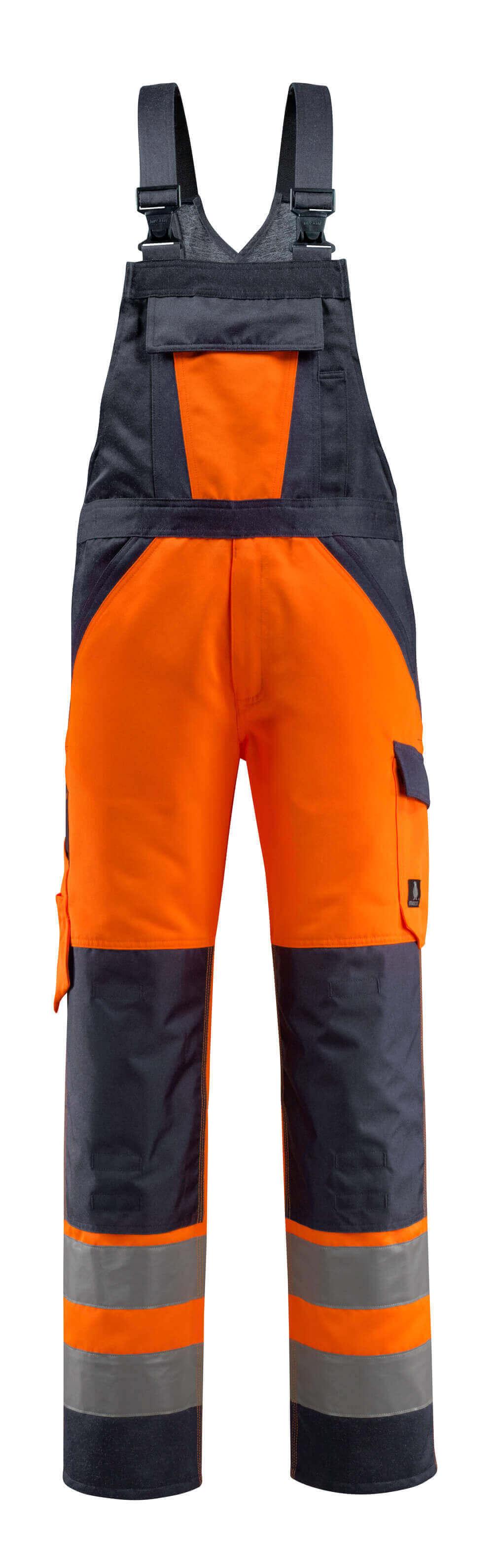 15969-948-14010 Overall med knælommer - hi-vis orange/mørk marine