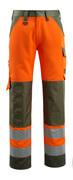 15979-948-1433 Bukser med knælommer - hi-vis orange/mosgrøn