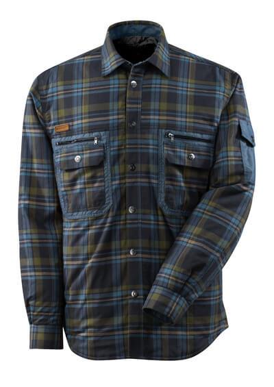 17004-991-01085 Skjorte med fór - mørk marine/stenblå