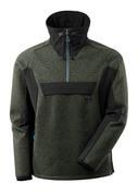 17005-309-3309 Strikjakke med kort lynlås - mosgrøn/sort