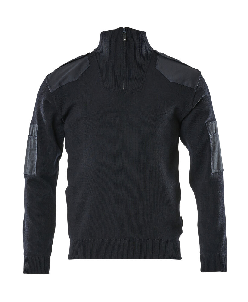 17205-939-010 Striktrøje med kort lynlås - mørk marine