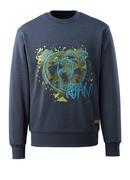 17284-280-66 Sweatshirt - vasket mørkeblå denim