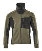 17484-319-3309 Sweatshirt med lynlås - mosgrøn/sort