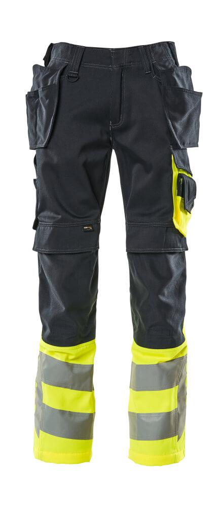 17531-860-01017 Bukser med knæ- og hængelommer - mørk marine/hi-vis gul