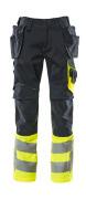 17531-860-01017 Bukser med hængelommer - mørk marine/hi-vis gul
