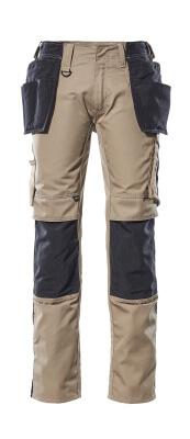 17631-442-0618 Bukser med knæ- og hængelommer - hvid/mørk antracit