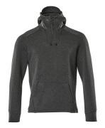 17684-319-09 Hættetrøje med kort lynlås - sort
