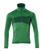 18003-316-33303 Fleecetrøje med kort lynlås - græsgrøn/grøn