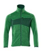 18105-951-33303 Striktrøje med lynlås - græsgrøn/grøn