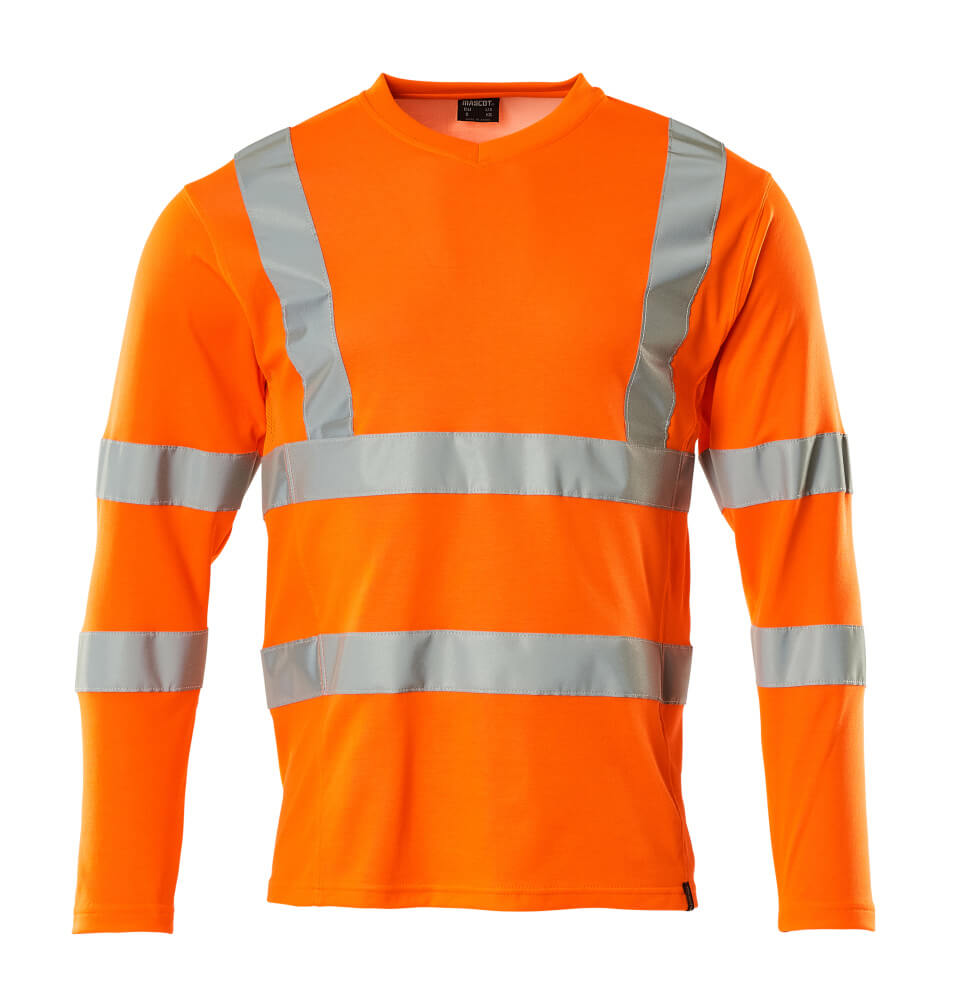 18281-995-14 T-shirt, langærmet - hi-vis orange