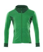 18584-962-33303 Hættetrøje med lynlås - græsgrøn/grøn