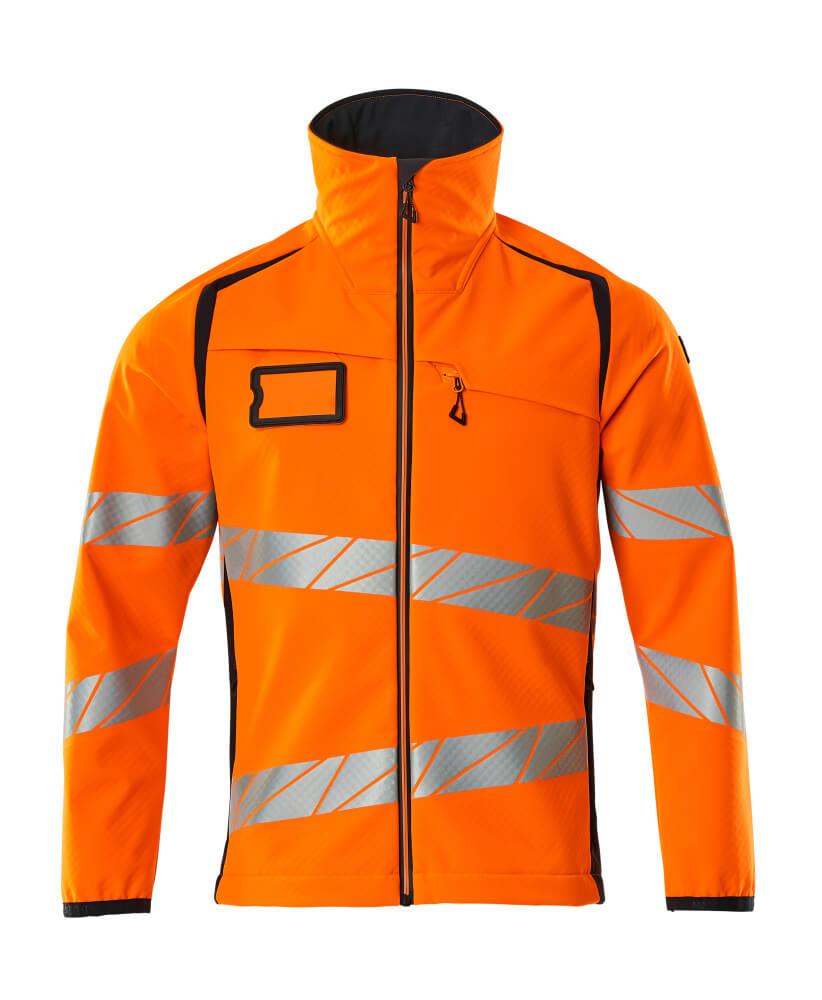 19002-143-14010 Softshell jakke - hi-vis orange/mørk marine