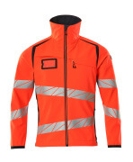 19002-143-22210 Softshell jakke - hi-vis rød/mørk marine