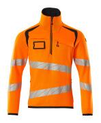 19005-351-14010 Striktrøje med kort lynlås - hi-vis orange/mørk marine