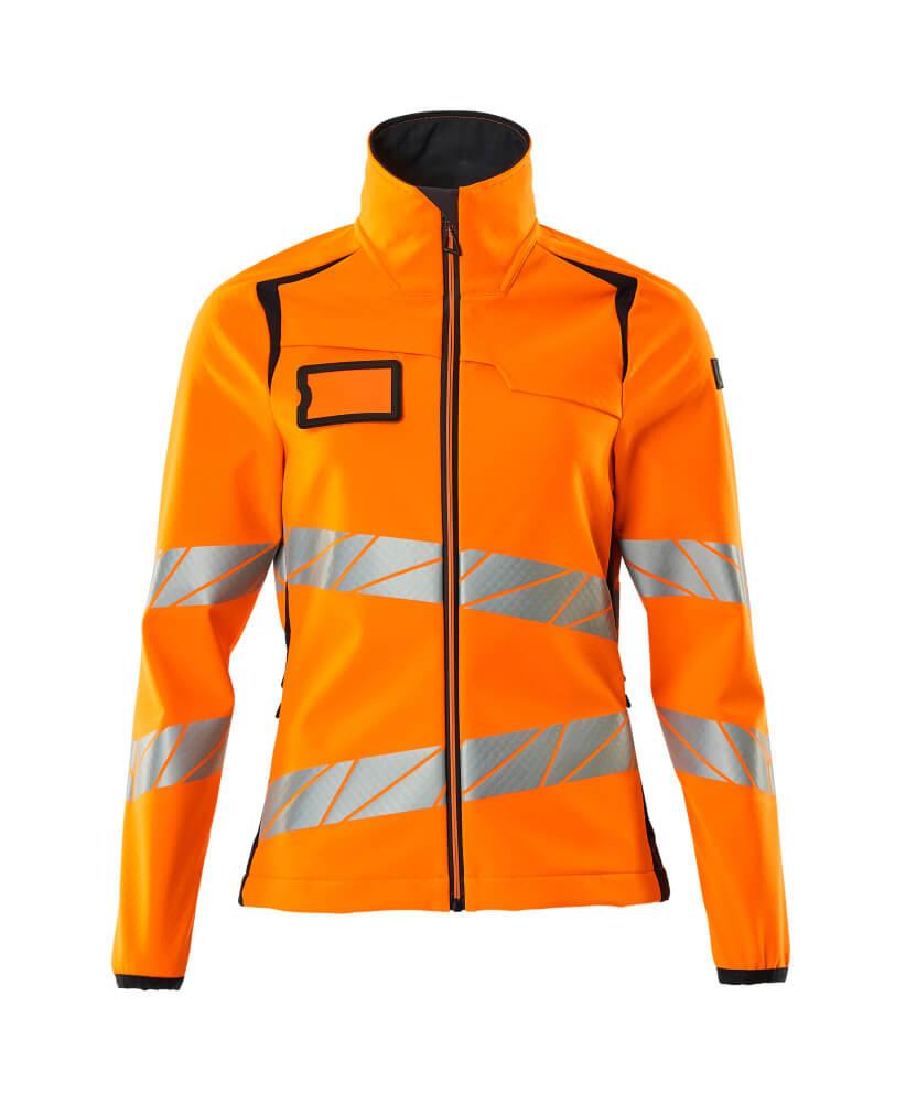 19012-143-14010 Softshell jakke - hi-vis orange/mørk marine