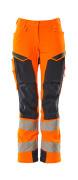 19078-511-14010 Bukser med knælommer - hi-vis orange/mørk marine
