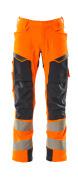 19079-511-14010 Bukser med knælommer - hi-vis orange/mørk marine
