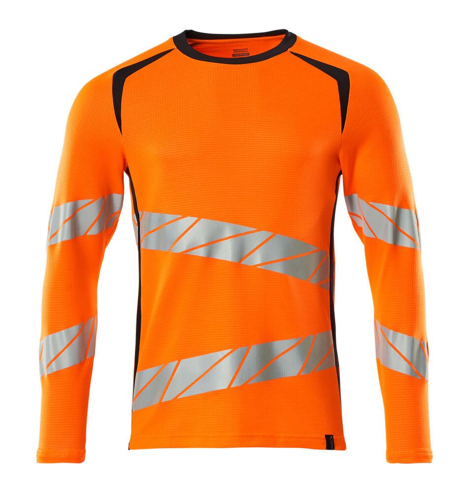 19081-771-14010 T-shirt, langærmet - hi-vis orange/mørk marine