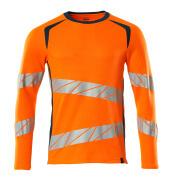 19081-771-1444 T-shirt, langærmet - hi-vis orange/mørk petroleum