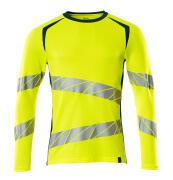 19081-771-1744 T-shirt, langærmet - hi-vis gul/mørk petroleum