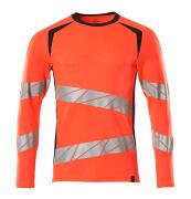 19081-771-22210 T-shirt, langærmet - hi-vis rød/mørk marine