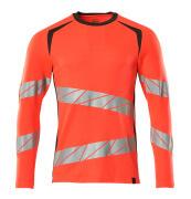 19081-771-22218 T-shirt, langærmet - hi-vis rød/mørk antracit