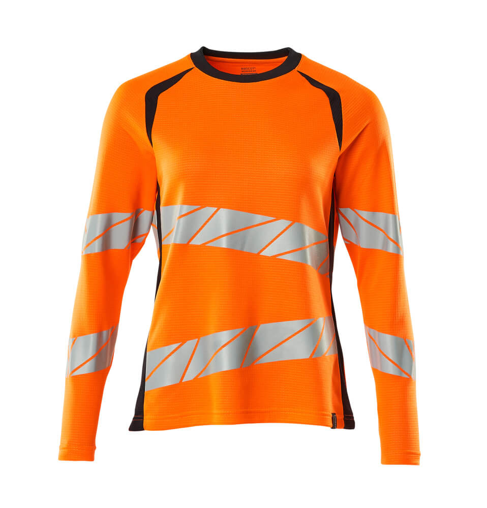 19091-771-14010 T-shirt, langærmet - hi-vis orange/mørk marine