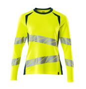 19091-771-1744 T-shirt, langærmet - hi-vis gul/mørk petroleum