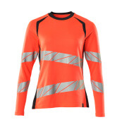 19091-771-22210 T-shirt, langærmet - hi-vis rød/mørk marine