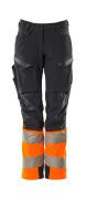 19178-511-01014 Bukser med knælommer - mørk marine/hi-vis orange