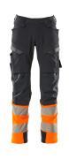 19179-511-01014 Bukser med knælommer - mørk marine/hi-vis orange