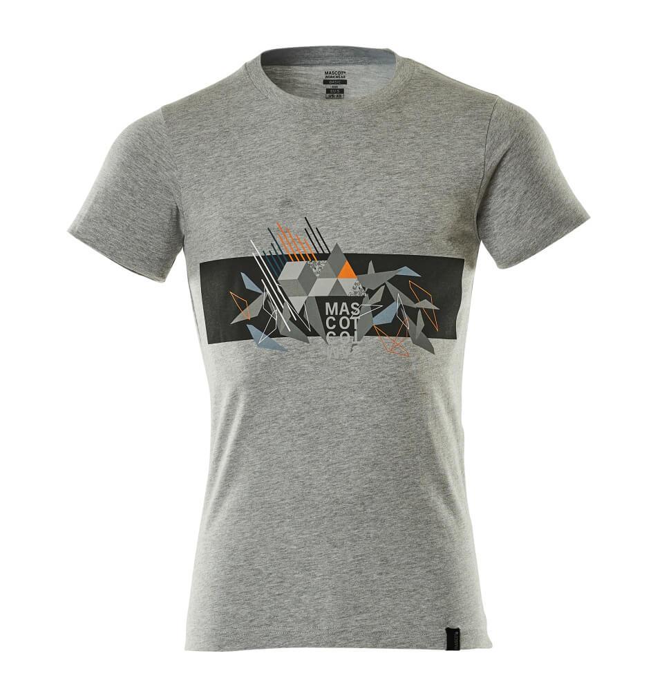 19182-965-0814 T-shirt - grå-meleret/hi-vis orange