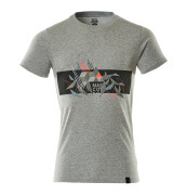 19182-965-08222 T-shirt - grå-meleret/hi-vis rød